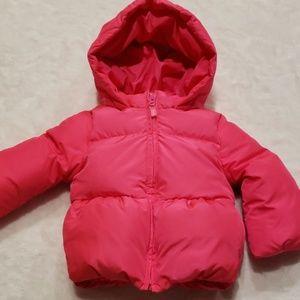 Bright pink down jacket